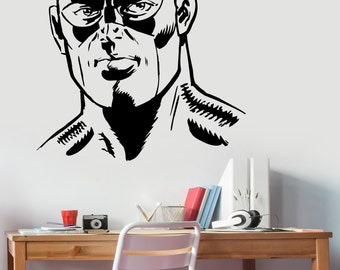Captain America Head Wall Decal Vinyl Sticker Marvel Comics Superhero Decorations for Home Housewares Bedroom Teen Kids Boys Room Decor cpa3