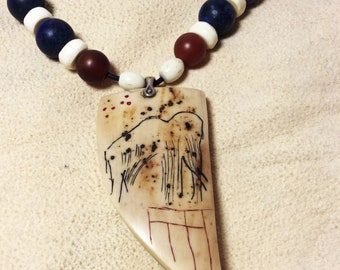 Mammoth Ivory Necklace - Inspired by Rouffignac Cave Images - Ice Age Tribal