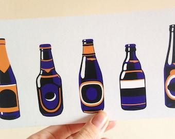 Bottle Art Print - Beer Lover Gift