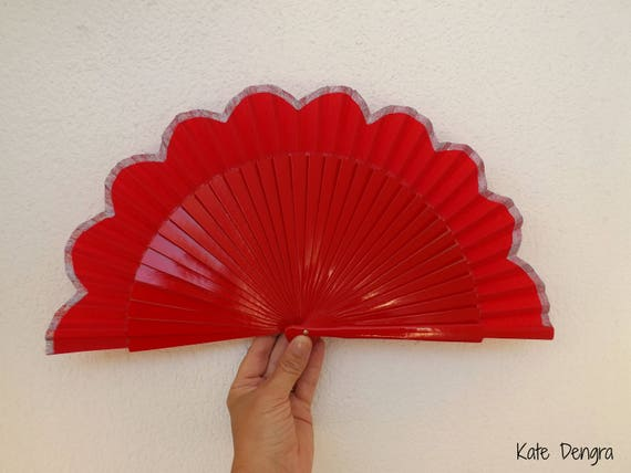 Red Silver Floral Edge Hand Fan