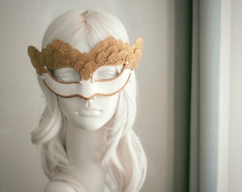 White & Gold Lace Masquerade Mask - Venetian Style Halloween Mask With Embroidery - For Masquerade Ball, Prom, Costume Party, Wedding