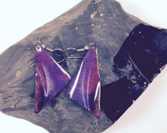 Vintage purple enamel earrings 1980s