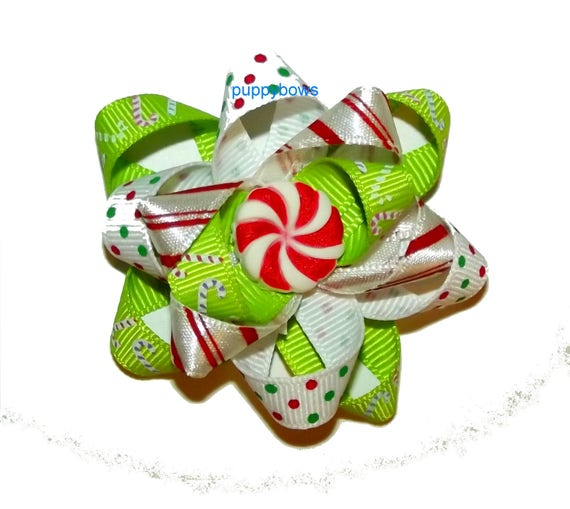 Puppy Bows ~  Christmas peppermint boutique bow green red latex bands or barrette   (fb78)