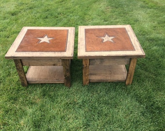 Cowhide end tables / cowhide side tables / cowhide nightstands / open for storage - set of 2