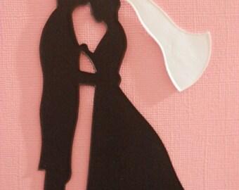 Bride and GroomKissing Bride's Head Silhouette Die Cut Set of 24