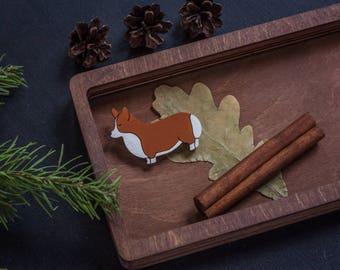 Corgi wooden brooch / welsh corgi brooch / corgi pin
