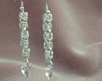 Chainmaille Byzantine Weave earrings with a Swarovski Crystal Heart Dangle