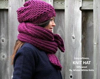 Knit beanie hat, THE WINSOME HAT. knit hat in berry, chunky knit winter hat, Knit wool beanie, Chunky slouchy beanie, knitted slouchy hat
