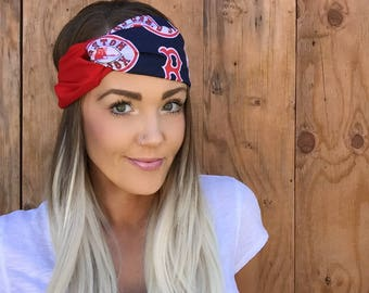 Boston Red Sox Vintage Style Turban Headband || Hair Band Baseball Accessory Cotton Workout Yoga Fashion Red Navy Blue White Head Scarf Girl