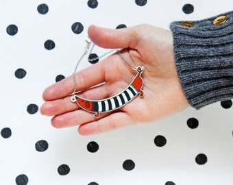 Dachshund with blue sweater or with striped t-shirt - necklace