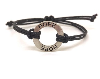 Hope bracelet, Black Bracelet, Message Bracelet, Charm Bracelet, Inspirational Bracelet