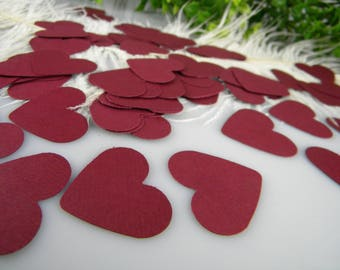 """Burgundy Wedding Confetti Hearts 