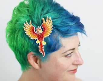 Mythical Creature Hair Clip, Dragon, Griffin, Phoenix, Pegasus, Your Choice of Barrette, Aligator or Snap Clip