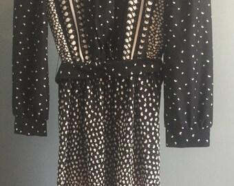 Vintage, 1970s, Black/paisley, Dress, size 8