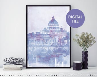 Vatican City, St Peter's Basilica, Rome Watercolour Print Wall Art | Print At Home | Digital Download File