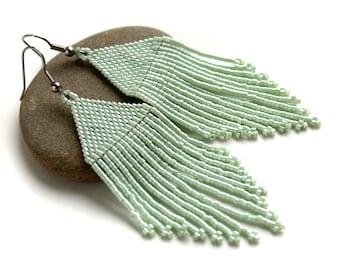 Long mint green earrings for women Delicate earrings Mint colored jewelry Modern beaded earrings Seed bead fringe earrings Elegant earrings