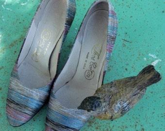 Vintage Heels,  Multicolored Heels, Womens Heels, Vintage High Heels, Multicolor Heels, Colorful Heels, Size 4 Heels, Vintage Ladies Heels