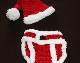 Baby Santa Claus Diaper Cover and Hat Set - Free Shipping!