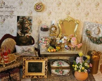 Dollhouse miniature romantic wall clock