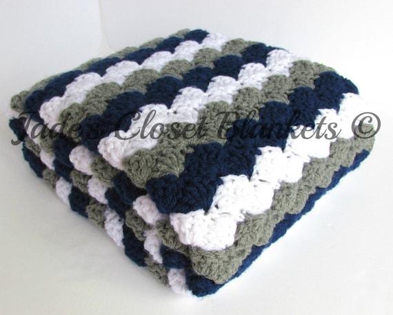 Crochet bebé manta manta del bebé azul marino blanco y