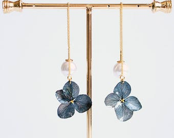 Real flower earring,hydrangea earrings,threader earrings,girlfriend/wife earrings