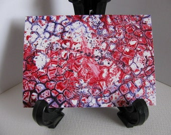Inventory CLEARANCE on ACEO Cellular. Abstract Encaustic (Wax) Original Painting. Red. Purple. White. SFA (Small Format Art) Collectible Art