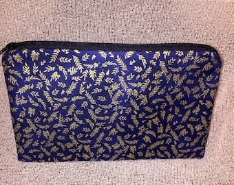 Blue with gold leaf accents zipper pouch
