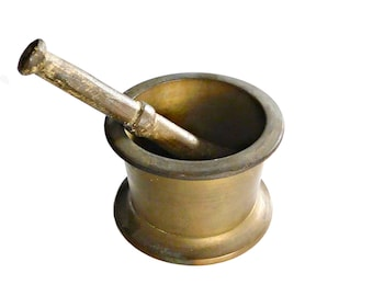 Antique Solid Brass Mortar and Pestle, Vintage Apothecary or Kitchen Decor, Farmhouse Kitchen
