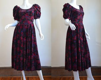 Romantic Vintage Laura Ashley Dress in Lush Velvet Made In Great Britain