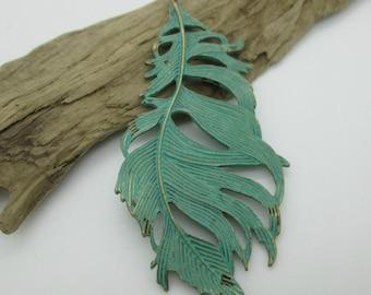 Large Leaf Pendant, Brass Patina Leaf, Boho Leaf, 84mm