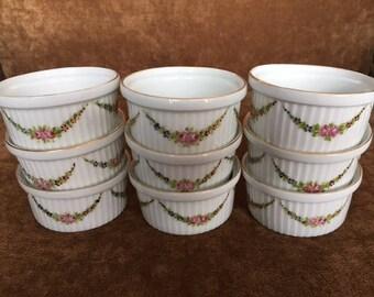 Vintage Austria hand painted enameled porcelain ramkins souffle custard pots de creme roses flowers dessert cups dishes Austrian 9 pcs