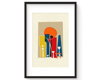 THE GATHERING - Mid Century Style Contemporary Modern Abstract Art Print