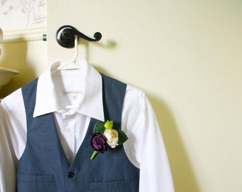 Ranunculus Bud Boutonniere Buttonhole in Cream and Purple