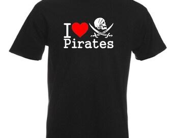 I Love Pirates T-Shirt Joke Funny Tshirt Tee