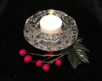 Pressed Glass Votive Candle Holder - Bull's Eye Pattern