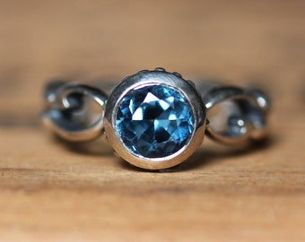London blue topaz ring, December birthstone ring, bezel set ring, alternative engagement ring, blue topaz engagement ring, ready to ship