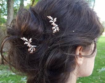 Oak Leaves and Acorn Rose Gold Hair Pin, Bobby Pin, Woodland, Rustic, Garden Wedding Hair Clip, Vintage Bridal Hair