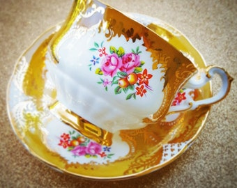 Bright Yellow and Gold Paragon Bone China Footed Tea Cup & Saucer Set - Made In England - 1960s