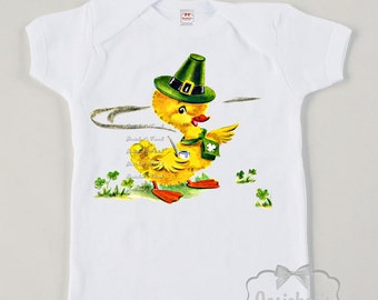 Kids Irish Shirt - St Patrick's Day Shirt - Baby Irish Shirt - Duck Saint Patrick Shirt - Shamrock Tee Retro - Custom Size Vintage Shirt