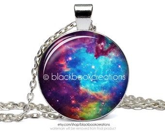 Multicolor Nebula Outer Space Necklace - Handmade