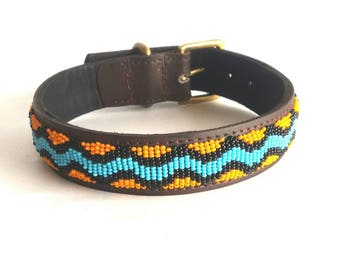 Leather dog collars, Kenyan beaded dog collars, small dog collars