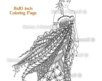 Windy - Fairy Tangles Printable Coloring Book Pages & Sheets by Norma Burnell Digital Coloring for Adults Coloring for Grownups