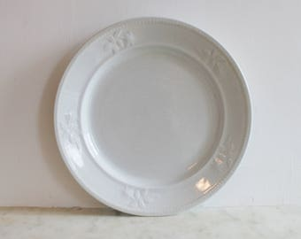 Antique Ironstone Dish, White Plate, English, Meakin, England, Flower Design, Excellent Condition