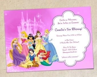 Disney princesses party invitation template instant pink princesses birthday party invitation template disney princess invitation instant download you personalize print stopboris Gallery
