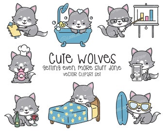 Premium Vector Clipart - Kawaii Wolf - Cute Wolves Clipart - Even More Wolves - Instant Download - Kawaii Clipart