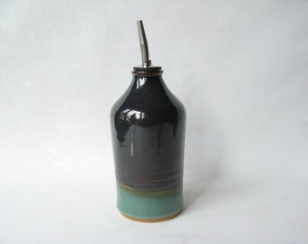Olive Oil Dispenser, Olive Oil Cruet, Olive Oil Pourer, Pottery Oil Bottle