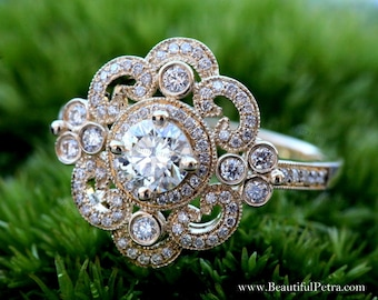 DUCHESS - 14k yellow, white, rose gold - Floral - Round Diamond Engagement Ring or RIGHT Hand Ring - Weddings- Brides - Luxury - Bp0012