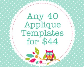 Any 40 Applique Templates, You Choose Designs, Multiple Purchase Discount. PDF Patterns by Angel Lea Designs
