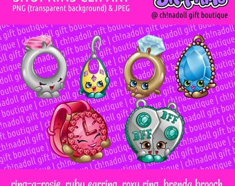 Shopkins clipart | jewellery | ring-a-rosie brenda brooch ticky tock chelsea charm | jpeg and png | instant download | DIY printable