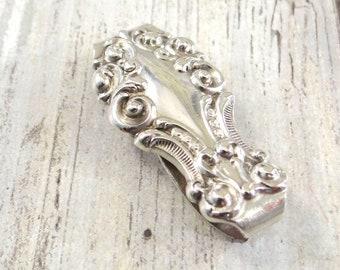 Antique Sterling Silver Money Clip, Art Nouveau Era 1890s